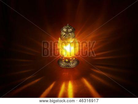 An illuminated islamic lamp