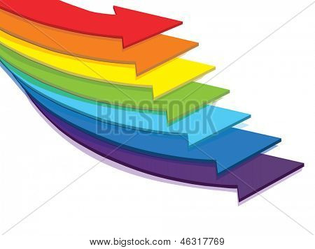 arrows of color of rainbow on a white background
