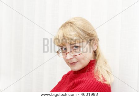 Adult Beautiful Woman With Glasses In Red