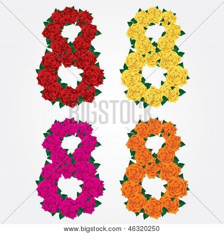 Colorful collection of isolated eights of roses