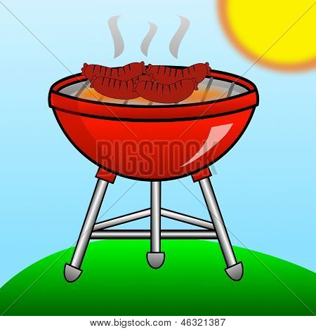 Barbecue Of Red Color With The Fried Sausages