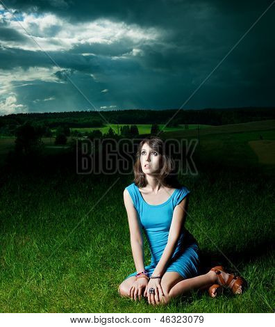 Portrait of Sexy Woman in Grass