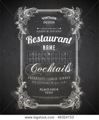 Vintage frame with floral ornament with grunge background for restaurant name design. Chalkboard art. Black illustration variant.