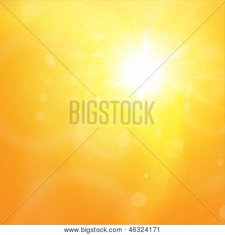 Sunny orange summer background for bright design. Lens flare. Vector eps10 illustration