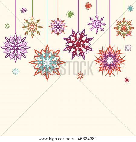 Vector Illustration Of An Abstract Snowflakes, Flowers Background