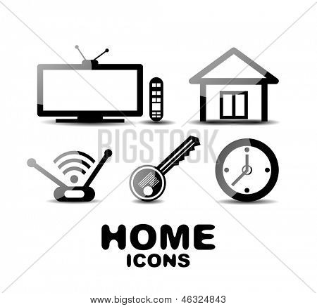 Black glossy vector home icons