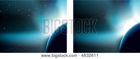 Sunrise Planet Portrait Right And Stars.