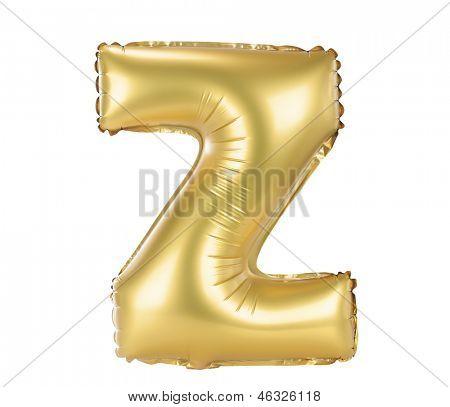 Gold balloon font part of full set upper case letters, Z