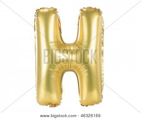 Gold balloon font part of full set upper case letters, H