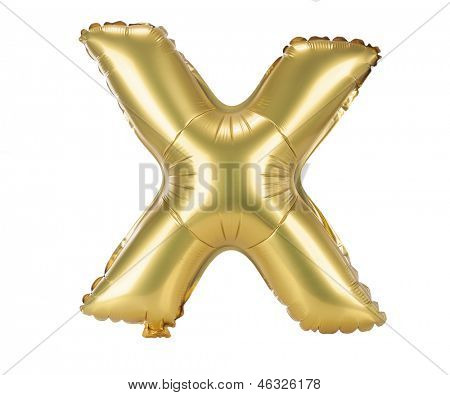 Gold balloon font part of full set upper case letters, X