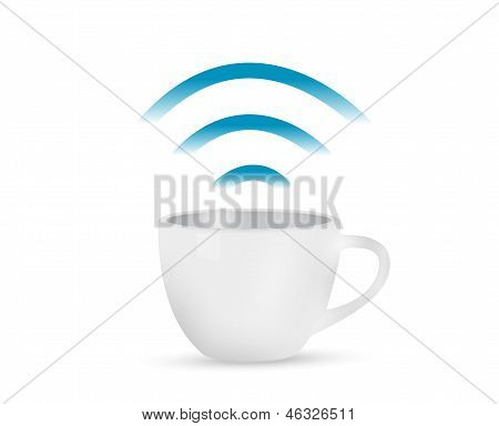 Internet Coffee Mug Concept Illustration Design