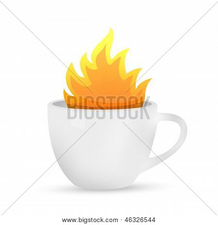 Coffee Mug On Fire Concept Illustration
