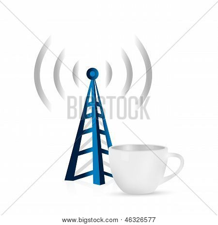 Internet Tower Coffee Mug Concept Illustration
