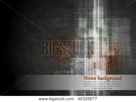 Dark grunge tech background. Vector illustration template eps 10