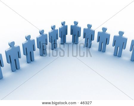 3d People In A Line