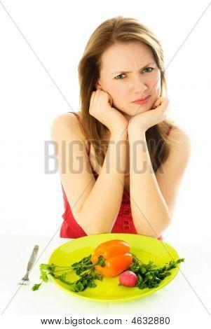 Displeased Woman Keeping A Diet
