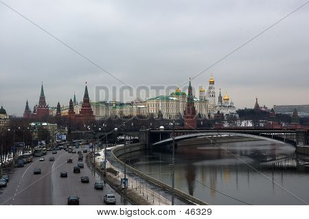 Spring Snapshot Of Moscow Kremlin, Kremlin Embankment, Moscow River And The Kremlin's Wall With Spa