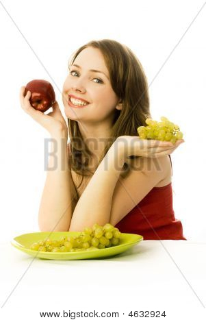 Girl With Grapes And An Apple