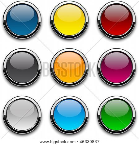 Set of blank colorful round buttons for website or app. Vector eps10.