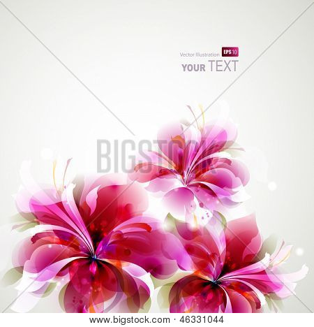 Tender background with growing abstract flowers