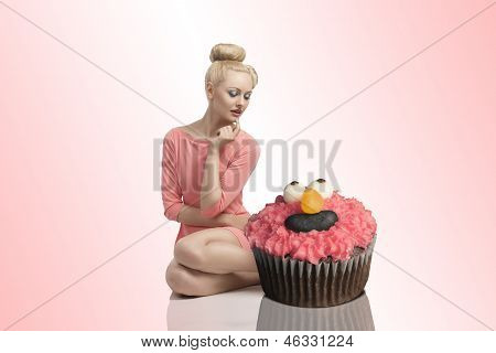 Blonde Woman With Cupcakes