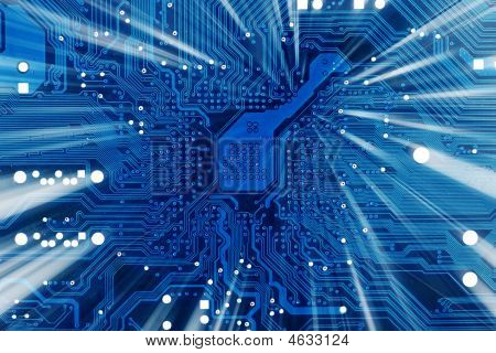 Tech Industrial Electronic Blue Background