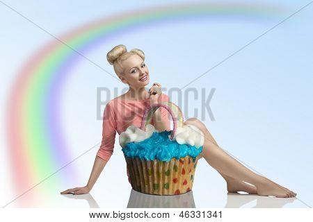 Smiling Girl With Big Cupcake