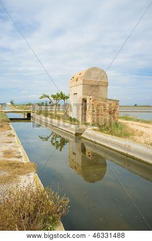 Irrigation Canal Through Rice Fields