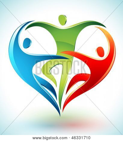 Vector illustration of three figures dancing and forming a heart