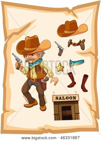 Illustration of a paper with a cowboy holding a gun on a white background