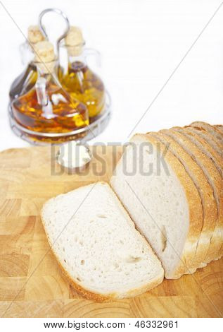 Fresh Sliced Bread With Oil And Vinegar