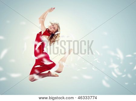 Young girl floating