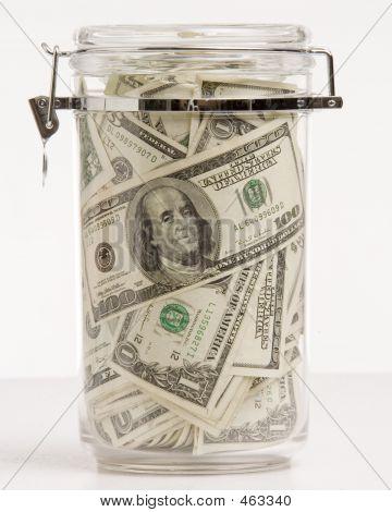 Money In Glass Jar Closed