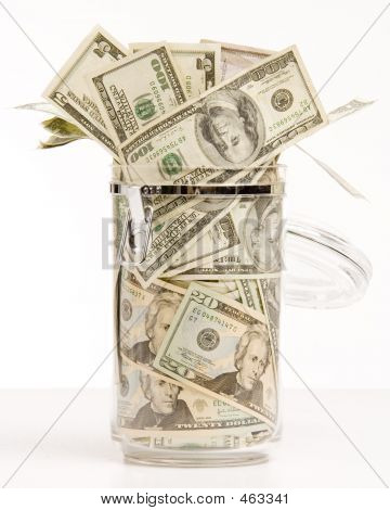 Money In Glass Jar Opened