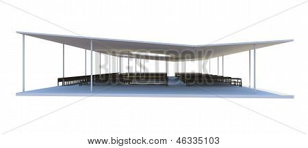 3D Rendered Of Futuristic Architecture On White Background