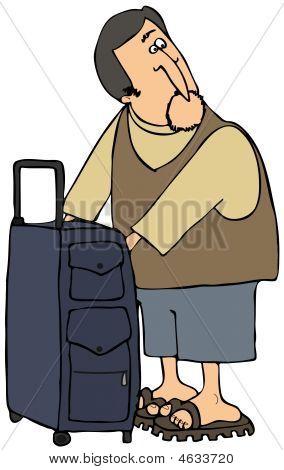 Traveler Checking His Bag