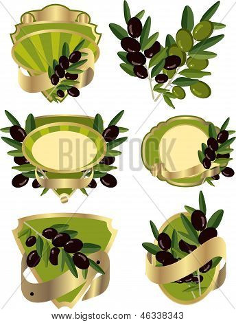 set of labels with olive branches