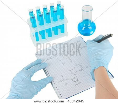 Scientist working at laboratory isolated on white