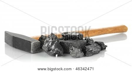Coal with hummer isolated on white