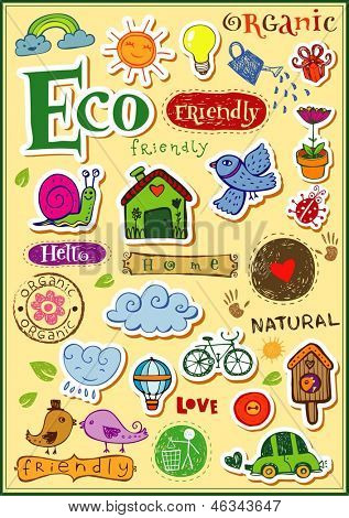 Eco friendly vector set - doodles and inscriptions.