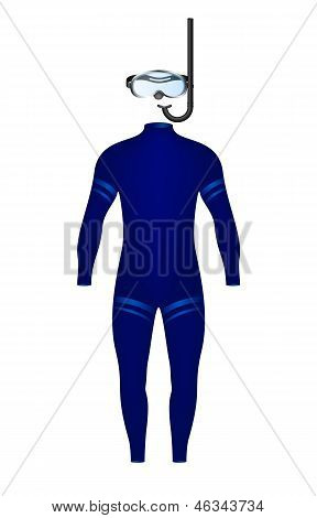Diving suit and diving goggles with snorkel