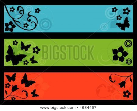 Flower And Butterfly Banners