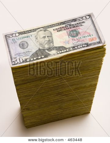 Cash Stack Of 50 Dollar Bills