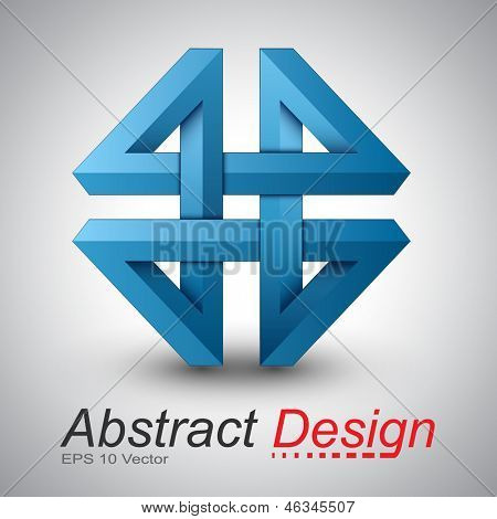 3D abstract icon design, impossible figure - vector illustration.