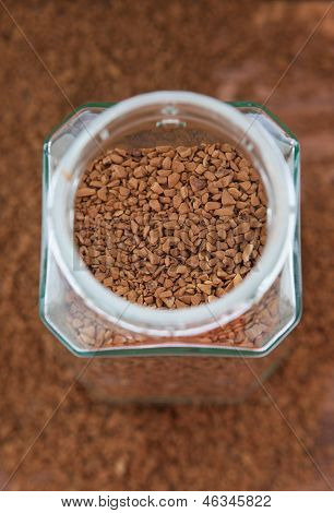 Instant Coffee Granules In Glass Bank