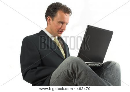 Business Man Typing Relaxed