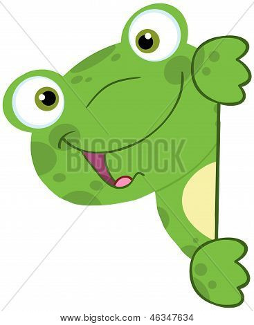 Cute Frog Smiling Behind Blank Sign