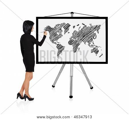 Woman Drawing World Map