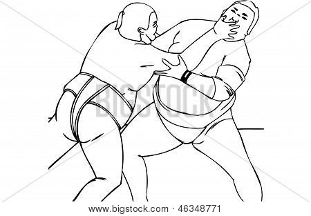 Isolated Vector Illustration of Japanese Male Sumo Wrestlers