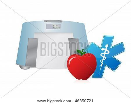 Healthy Food And Weight Scale, Illustration Design